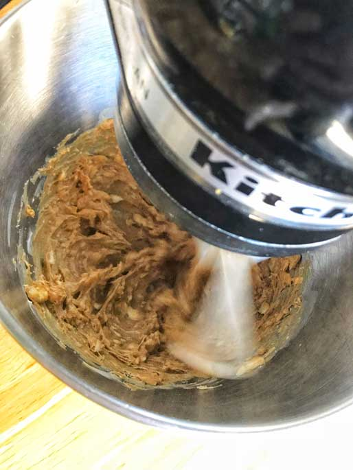 Beat Peanut Butter in the Kitchenaid mixer