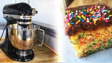 kitchenaid mixer and a cake