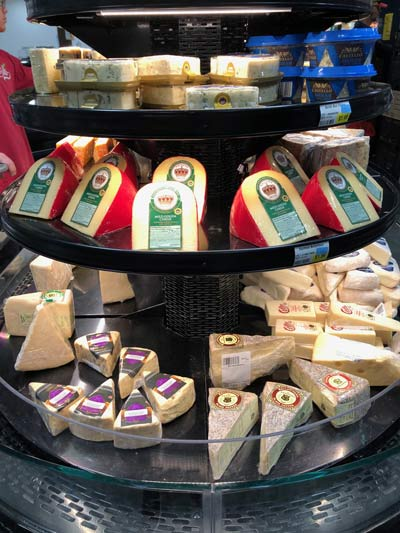 portions of cheese in supermarket