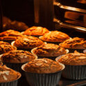 Oatmeal nut muffins baked