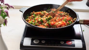 A delicious meal prepared over an induction cooktop