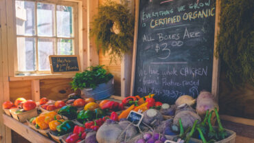 Organic produce for sale with a chalkboard sign showing prices